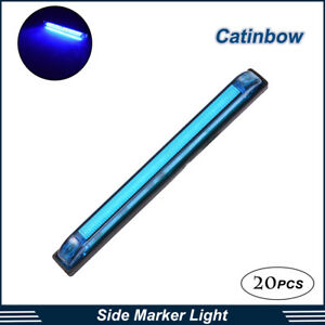 20x Blue 8 Side 18 Led Marker Utility Light Bar Strip Surface Mount Sealed Lamp