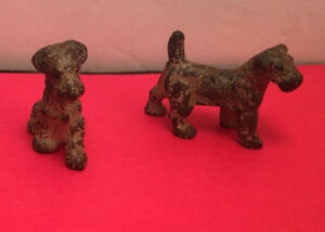2 Antique Hubley Cast Iron Fox Terrier Figural Dog Paperweight Decorative
