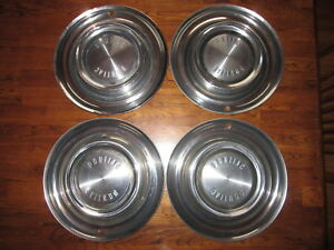 Vintage Pontiac Set Of 4 1958 14 Hubcaps Star Chief Catalina Good Condition