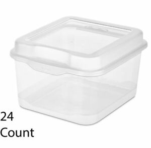 24 Pack Sterilite 18038612 Plastic Fliptop Latching Storage Box Container Clear