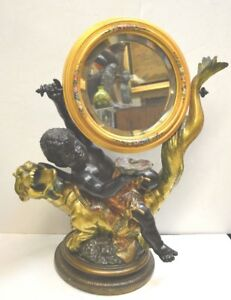 Antique Blackamoor Child Winged Cherub Or Putto On A Dragon Mirror