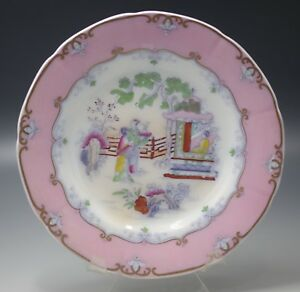 C 1800 Staffordshire Chinoiserie Polychrome Tea House Plate Pink Border 2