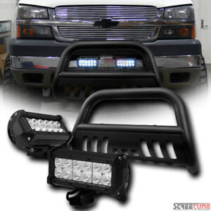 Matte Blk Bull Bar Grille Guard 36w Cree Led Lights For 99 00 07 Suburban tahoe
