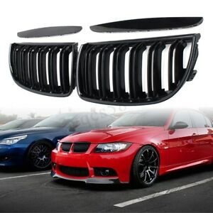 Front Double Slat Sport Kidney Grilles Grill For Bmw E90 E91 2005 2006 2007 2008