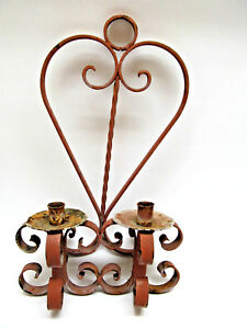 Vintage Rustic Spanish Style Heavy Wrought Iron Candle Wall Sconce