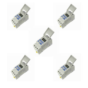 pack Of 5 new Din Rail Digital Lcd Power Programmable Timer Dc 12v 16a Time Sj
