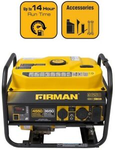 Firman Portable Generator 3650 4550 w Gas Powered Extended Run Time Durable New