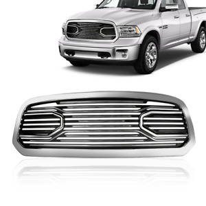 For 2013 2018 Dodge Ram 1500 Black Chrome Big Horn Front Bumper Grill Grille