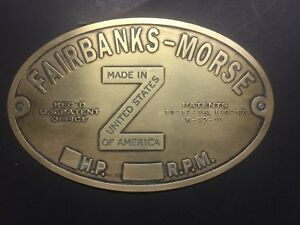 New Fairbanks Morse Hopper Cool z Brass Data Tag Antique Gas Engine Hit Miss
