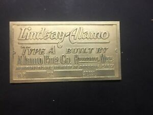 New Lindsay Alamo Brass Data Tag Antique Gas Engine Hit Miss