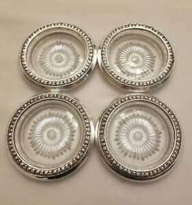 4 International Floral Repousse Sterling Silver Glass Bottle Coasters