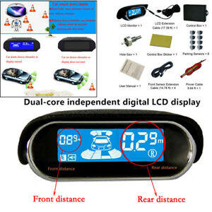 Dual core Double Lcd Display System 8 Parking Sensor Car Reverse Radar Alarm Kit