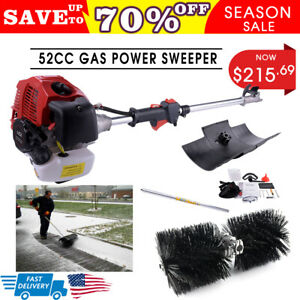 52cc Gas Power Hand Help Sweeper Broom Driveway Turf Artificial Grass Snow Clean