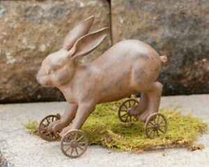 Vintage Looking Primitive Farmhouse Bunny Rabbit On Wheels Pull Toy Free Ship