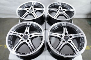 17x7 5 4x Black With Polish 5 Stars Big Lip Wheels Rims 5x120 Fit Bmw 3 Series