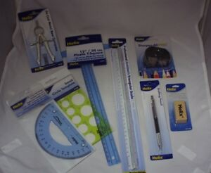 Lot Helix Drafting Pencils Ts Compass Protractor Template Scale Eraser Sharpener