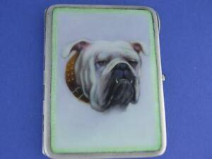 Rare Sterling Silver Enamel Cigarette Case W Portrait Of Bulldog Circa 1800 S