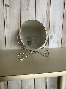 Vintage Double Sided Gold Stand Up Vanity Mirror