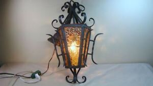 Vintage Gothic Wrought Iron Light Fixture Lamp