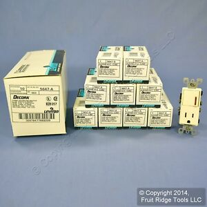 10 Leviton Almond Decora Lighted Rocker Switch Receptacle Outlets 15a 5647 a