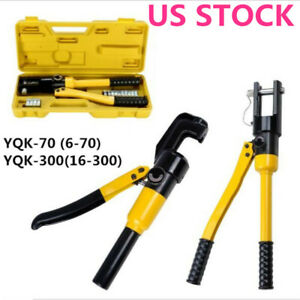 Hydraulic Wire 10 Ton Terminal Crimper Battery Cable Lug Crimping Tool W dies