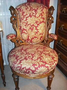 Victorian Laminated Rosewood Rococo Ren Revival Demi Arm Chair W Gilding
