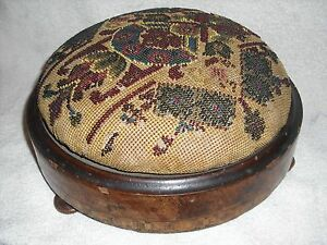 Antique Victorian Beaded Needlepoint Footstool From England