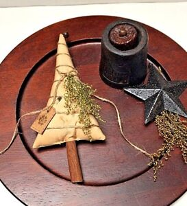 Primitive Tea Stained Christmas Tree Ornies Bowl Fillers W Tag Sweet Annie