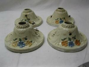 4 White Porcelain Flowers Old Light Fixtures Vintage Wall Ceiling Ceramic Deco