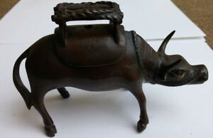 Old Antique Chinese Bronze Incense Burner Bull And Saddle