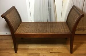 Beautiful Vintage Chinese Wood Frame Hand Woven Bamboo Bench