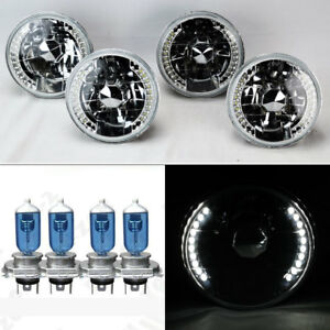 Four 5 75 5 3 4 Round H4 Clear Led Drl Glass Headlights W Bulbs Set Plymouth