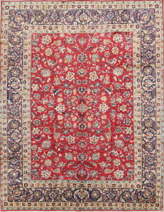 Vintage All Over Floral Red Sarouk Yaazd Persian Oriental Area Rug Wool 10x14