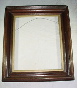 Antique Victorian Deep Walnut Picture Frame Shadow Box For 10x12 Art Or Mat