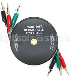 3 Wire 20 ft Retractable Test Leads 18 Gauge Alligator Clips In Reel