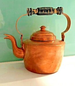Antique Copper Kettle 5 Cup Capacity Early 20th Century