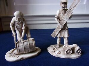 2 Unique Highly Detailed Hand Carved Men W Building Materials