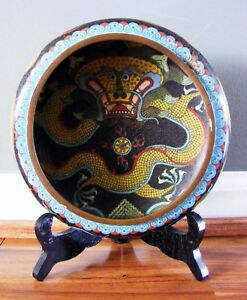 Antique Chinese Cloisonne Dragon Bowl Signed Marked