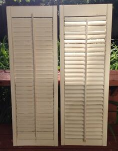 Vintage Pair Wooden Window Shutters Architectural Salvage Screen 34 X 12
