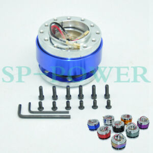 Universal Sparco Blue Steering Wheel Snap Off Quick Release Hub Adapter Boss Kit