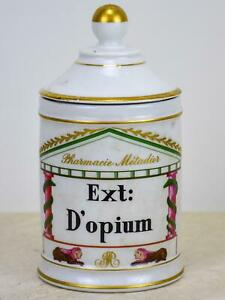 Antique French Limoges Apothecary Jar Opium