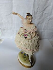 Vintage Antique Volkstedt Germain Porcelain Lace Ballerina Dancer Figurine