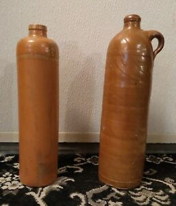 Antique Elongated Brown Glazed Stoneware Beer Whisky Wine Bottles Circa 1800