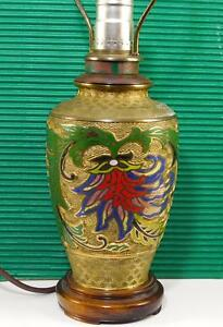 Antique Champleve Cloisonne Bronze Urn Lamp Japanese Chinese