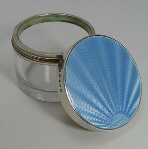 Art Deco Sterling Silver Guilloche Enamel Lidded Jar 1934