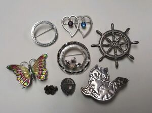 Lot Of 8 Sterling Silver 925 Brooches Pins 97 Troy Ounces Wear Resale Scrap
