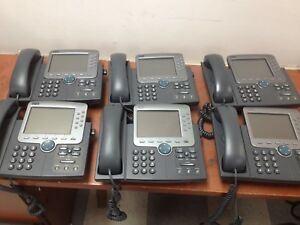 Lot Of 6 Cisco Ip Phones 7970g Voip Office Phones Tested Working Ph718ds
