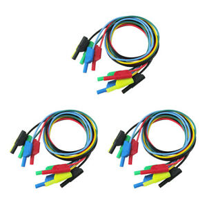 15pcs Clip Electrical Test Leads Banana Plug Soft Silicone Test Cable 3 3ft