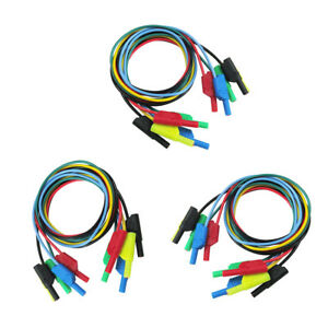 15pieces 4mm Banana To Banana Plug Silicone 1m Test Cable For Multimeter