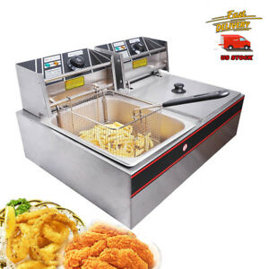 12l 5l Electric Deep Fryer Dual Tank Food Frying Cooking Machine Commercial Us